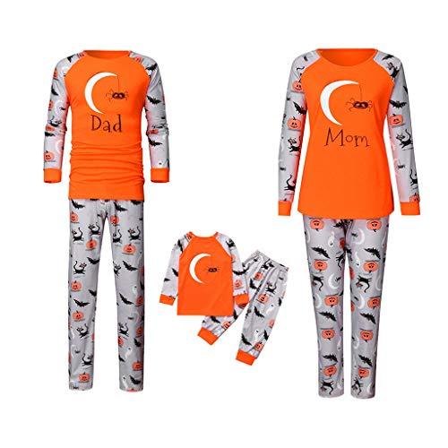 POLP Pijama de Halloween para Familia Hombre Mujer y Niños Pijamas Estampado de Calabaza Padres e Hijos Pijama Party Conjunto de Camisetas de Manga Larga y Pantalones Ropa de Dormir