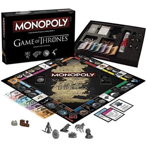 YMFZYM Juego de Mesa Monopoly de Game of Thrones, Juego de Comercio de propiedades de negociación rápida, Juego de Cartas temático de Fiesta, de 2 a 6 Jugadores Mayores de 18 años