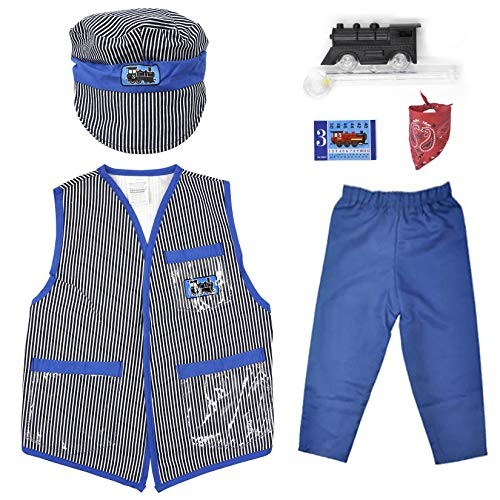 Mizzuco Kids Dress Up Role Play Kits Pretend Costume for Halloween and Holiday (Train Engineer)