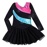 Kidsparadisy - Maillot con falda para niñas de 2 a 15 años, manga larga y sin mangas, con bandas arco iris, para gimnasia, baile y ballet, Infantil, color Blacklong, tamaño 170(14-15T)