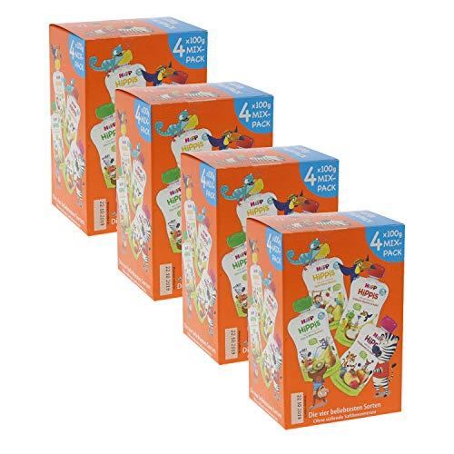 HiPP HiPPiS Quetschbeutel Mixpack, 4 verschiedene Geschmacksrichtungen, 100% Bio-Früchte ohne Zuckerzusatz, 4 x 4 Beutel à 100 g