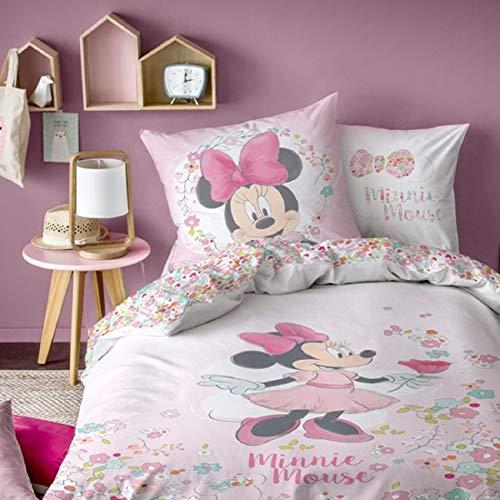 Minnie Ropa de cama Disney Mouse Flowers Flores 80 x 80 cm / 135 x 200 cm