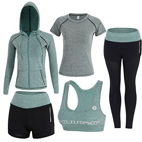 ZETIY Women's 5pcs Sport Suits Fitness Yoga Running Athletic Tracksuits (M, Green)