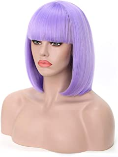 Rosa Star Short Bob Hair Wigs with Flat Bangs Straight Synthetic Colorful Costume Cosplay Purple Wig for Women(Light violet)