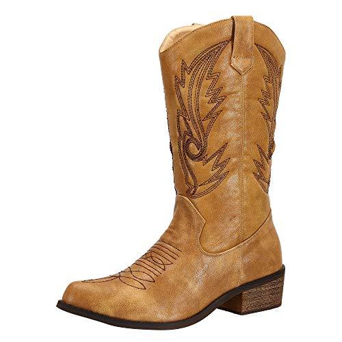 SheSole Damen Cowboy-Stiefel aus Leder - gefütterte Westernstiefel für Damen, hochwertige Damen-Boots mit normaler Schuhform, Bräunen, 39 EU