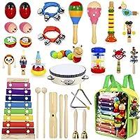 AILUKI 27 stuks muziekinstrumenten muziekinstrumenten set, houten percussie set drums drums ritme speelgoed kinderen...