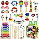 AILUKI 27 Stück Musikinstrumente Musical Instruments Set, Holz Percussion Set Schlagzeug Schlagwerk Rhythm Toys Musik Kinderspielzeug für...