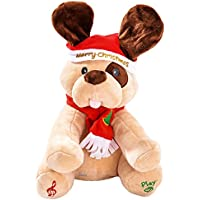 Dimple Animated Plush Singing Peek-a-Boo & Waving Ears Dog Holiday Toy in Christmas Theme for Kids