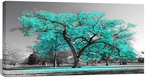 Visual Art Decor Black White Teal Tree Canvas Wall Art Prints Framed and Stretched Poster for product image