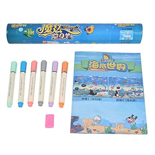kdjsic Juego de bolígrafos Invisibles Magic Pen con 1 Borrador térmico 6 bolígrafos mágicos 1 Libro para Colorear para Pintar niños de 3 años o más