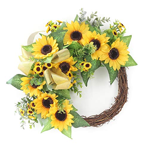 SMLJFO Corona artificial de girasol, decoración de la puerta simulación flor falso corona de flores para puerta delantera, hogar, boda, colgante amarillo 35 cm x 43 cm