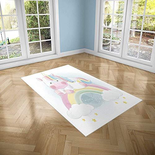 Oedim Alfombra Infantil Unicornio sobre Arcoiris para Habitaciones PVC   95 x 133 cm   Moqueta PVC   Suelo vinílico   Decoración del Hogar   Suelo Sintasol   Suelo de Protección Infantil  