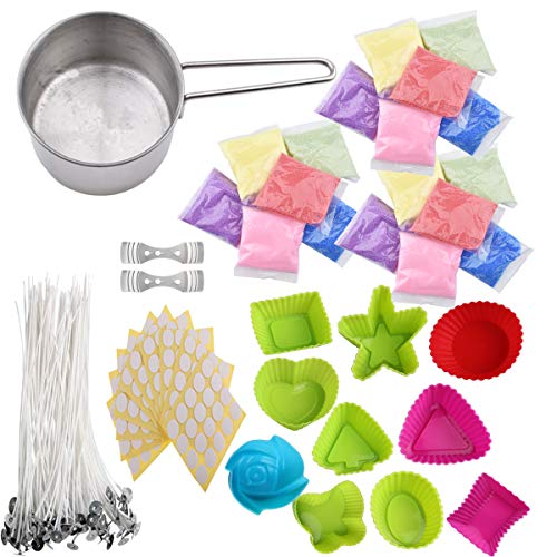 Candle Making Kit Candle DIY Starter Supplies - 6 Colors Candle Wax, 10 Candle Molds, 50 Wicks, 50 Wax Stickers, 1 Melting Cup, 2 Candle Center Device