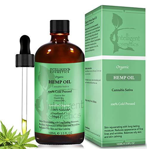 Olio di semi di canapa, 100ml, 100% pressato a freddo, non raffinato, biologico, puro e naturale, previene l'invecchiamento prematuro, restringe e riduce i pori...