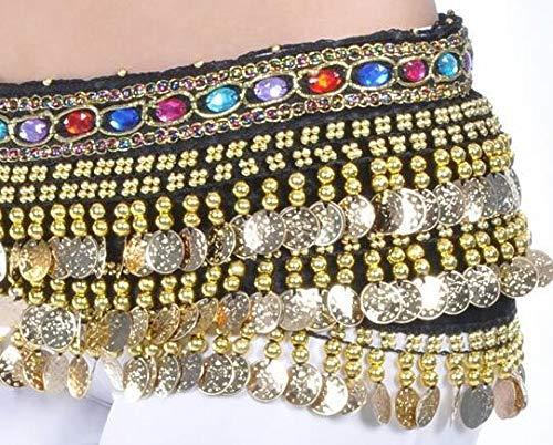CHENTAOCS 228 Golden Coin Belt Belly Dance Kostuum Accessoires Fluwelen Hip Sjaal Wikkel Taille Band India Dancer Blauw Paars Gratis Verzending Gemakkelijk te gebruiken Eén maat Zwart