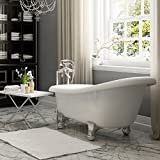 Luxury 60 inch Modern Clawfoot Tub in White with Stand-Alone...