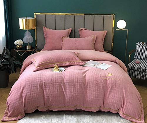 Shinon teddy fleece duvet set grey,Nordic double-faced fleece winter thickened flannel duvet cover sheet bed sheet bedding set-C_1.8m bed (4 pieces)