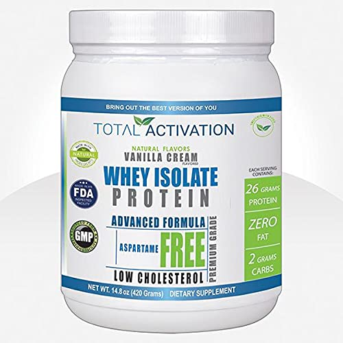 Total Activation Whey Isolate Protein Powder for Women & Men Low Carb Low Calorie with Stevia Monk Fruit Sunflower Lecithin Compare with Men Protein Shake Powders Delicious Vanilla 14.82 oz