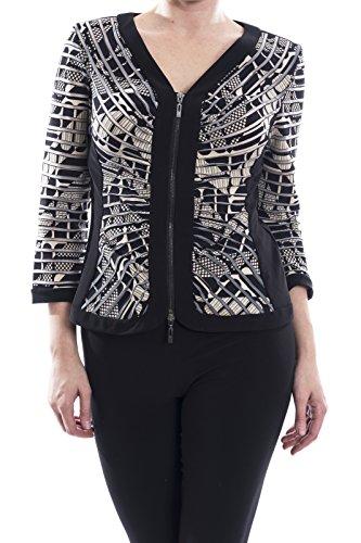 Joseph Ribkoff Black/Beige Front Zip Jacket Style 173889 Size 10