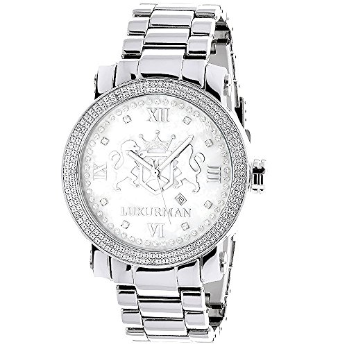 Large Mens Diamond Watch White MOP LUXURMAN Phantom with Stainless Steel Band 0.12ct