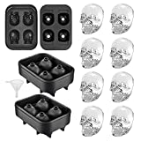 YHT 2 Pack Skull Silicone Ice Cube Trays, Ice Cube Molds for Whiskey, Easy Release Ice Tray with Lid ,Novelty Ice Mold for Cocktails, Black