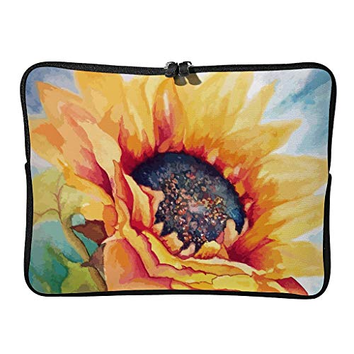 Sunflower Laptop Case Bag Durable Water Resistant Lightweight Multi-Color 10-17 Inch for Teen White 15 Zoll