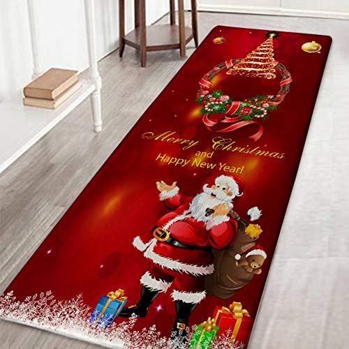 Lucoss Tapis De Noël Tapis Flanelle Tapis de Bain Absorbant en Caoutchouc antidérapant à l'arrière Tapis de Sol pour Cuisine 40 * 120cm