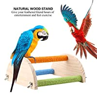 Ruiqas バードスタンド 研削クロースタンド 鳥 インコ 遊びスタンド 止まり木 はしご ケージスタンド おもちゃ 小中型 バード アスレチック 玩具 登りラダー 木製 運動不足 お立ち台 組み立て簡単