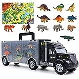 Dinosaurios Juguetes Camion Jurassic Dinosaurios Transporte con Tapete & 12 Piezas Dinosaurios + Animales Coches de Juguetes Juegos Educativos Regalos para Niños Niñas 3 4 5 6 Años
