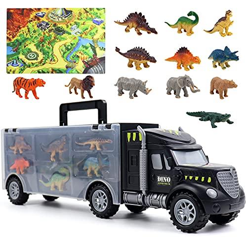 Dinosaurios Juguetes Camion Coches de Juguetes Transporte con Tapete & 12 Piezas Jurassic Dinosaurio + Animales Juegos Educativos Cumpleaño Regalos para Niños Niñas 3 4 5 6 Años