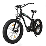 ECOTRIC Fat Tire Electric Bike Beach Snow Bicycle 4.0 inch Fat Tire 26' 1000W 48V 13Ah ebike Electric Mountain Bicycle with Removable Black Lithium Battery Electric Mountain Bicycle (Blue Rim)