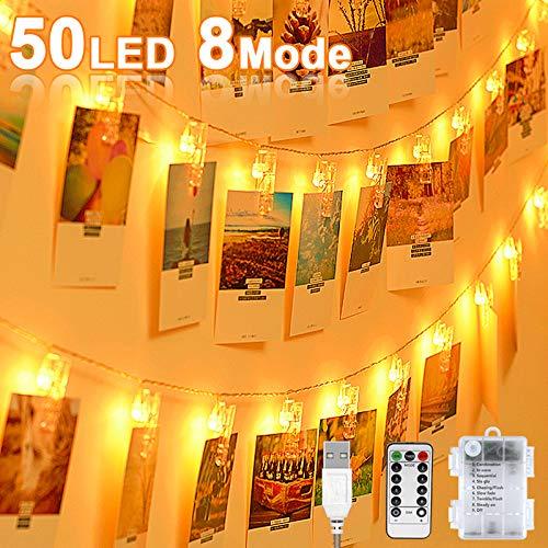 LED Fotoclips Lichterkette, 50 Foto-Clips 8 Modi Mit Fernbedienung USB oder Batteriebetrieben Lichterketten für Zimmer Bilderrahmen Dekoration Wohnzimmer innen Haus Hochzeit Party-Warmweiß
