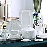 50-teiliges Tafelservice aus weißem Knochenporzellan mit Müslischale, Dessertteller, Suppenteller, Fischteller und Suppentopfservice für 10 Personen