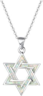FANCIME Created Opal Star Necklace 925 Sterling Silver Long Chain Charm Blue/White Pendant October Birthstone Jewelry for Women Girls 16