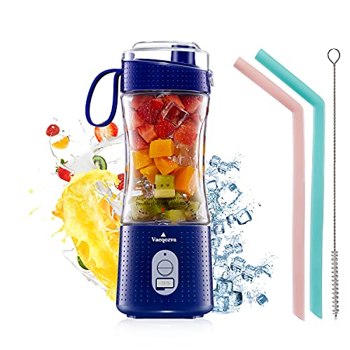 Portable Personal Blender for Smoothie and Shakes - Vaeqozva 6 Powerful 3D Blades 4000mAh USB Rechargeable Juicer Cup including Reusable Silicone Straws(Navy Blue)