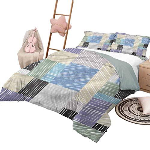 Nomorer Quilt Set Full Size Abstract Bedding Bag Square Shaped Box Sketch