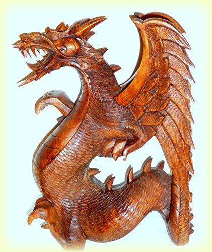 Geflügelter Drache Holzfigur Holzskulptur Glücksdrache Feng shui handgeschnitzt 15x14x11cm