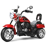 Costzon Kids Ride on Chopper Motorcycle, 6 V Battery Powered Motorcycle Trike w/Horn, Headlight, Forward/Reverse Switch, ASTM Certification, 3 Wheel Ride on Toys for Boys Girls Gift (Red)