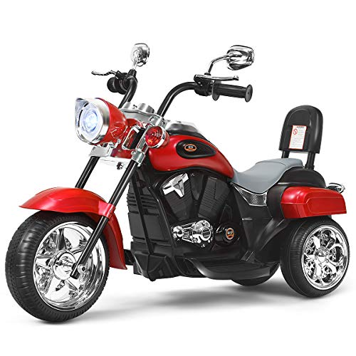 Costzon Kids Ride on Chopper Motorcycle, 6 V Battery Powered Motorcycle Trike w/Music, Headlight, Forward/Reverse Switch, ASTM Certification, 3 Wheel Ride on Toys for Boys Girls Gift (Red)