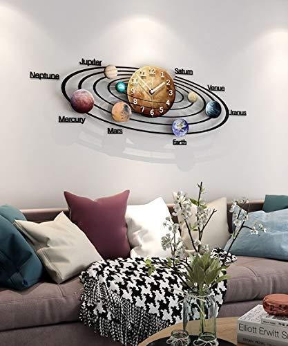 Vida sencilla manera de la decoración del reloj de pared planeta del Sistema Solar Reloj pared del sitio del mudo creativo del reloj decorativo Europea de silencio creativo del reloj de cuarzo de acrí