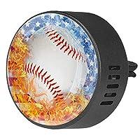 2pcsアロマセラピーディフューザーカーエッセンシャルオイルディフューザーベントクリップスポーツ野球の火と水のアメリカ国旗