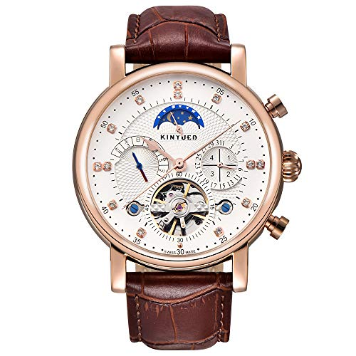 KINYUED Men Top Luxury Brand Automatic Mechanical Watch Watches Fashion Casual Leather Men's Tourbillon Moon Phase Sport Watch