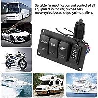 Duokon 12 / 24Vデュアルライトスイッチ, 3スイッチ+リアライト/LEDライトバー/オフロードライト3.4A車の充電器