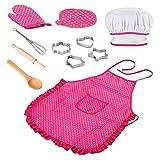 Tuimiyisou Chef-Set für Kinder Küche Role Play-Koch-Kostüm-Rosa mit Schürze Chef-Hut Utensilien...