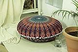 "Popular Handicrafts Large Hippie Mandala Floor Pillow Cover - Cushion Cover - Pouf Cover Round Bohemian Yoga Decor Floor Cushion Case- 32"" Multi Color"