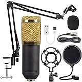 Yeliu Kit de micrófono de Condensador de diafragma Grande de Malla Dorada para Sala de grabación KTV Negro