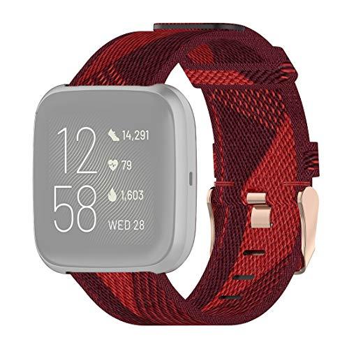 Correa Personalizada 23mm Raya de la Armadura de Nylon Correa de muñeca Watch Band for el Fitbit Versa 2, Fitbit Versa, Fitbit Versa Lite, Fitbit Blaze (Gris). (Color : Red)