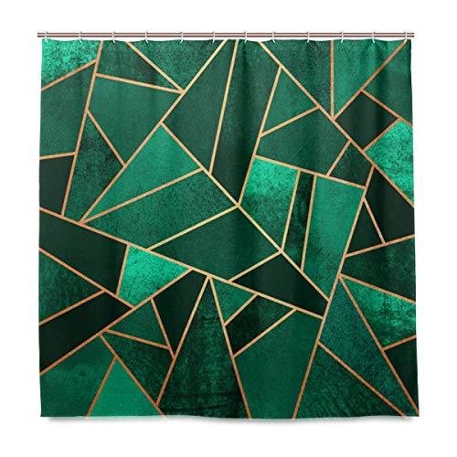 lovedomi Smaragdgrüner Duschvorhang abstraktes unregelmäßiges geometrisches Dreieck Raute Design 3D Digitaldruck wasserdichtes Badezimmer 60x72 Zoll Duschvorhang Polyester waschbar inklusive 12 Haken