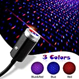 USB Night Light Star Projector, 3 Colors - 7 Lighting Effects, Aevdor Auto Roof Star Lights, Portable Romantic Light for Bedroom, Car, Party, Ceiling and More- Plug and Play (Blue & Red)