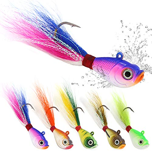 Bucktail Jigs Saltwater Hair Jigs Head Flukes Fishing Lures Assorted Kit for Striped Bass Walleye Snook Rockfish 1/4oz 1/2 oz 1oz 2 oz Pack of 5 (1/2 oz 5 pack, Bucktail Jigs 5-Piece Lure Kit)